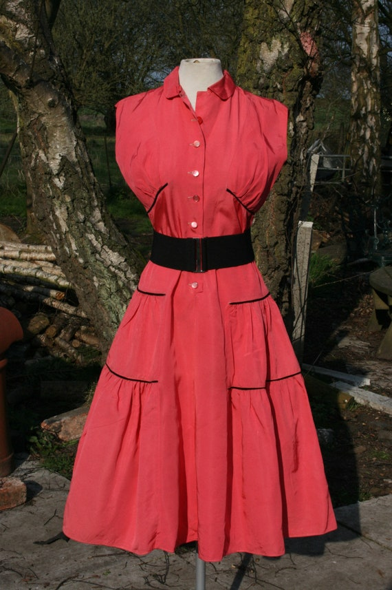 Vintage rockabilly/ jive/ swing dress, pink taffet