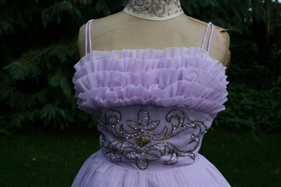 Vintage 1950s prom dress, lilac tulle puffball bal