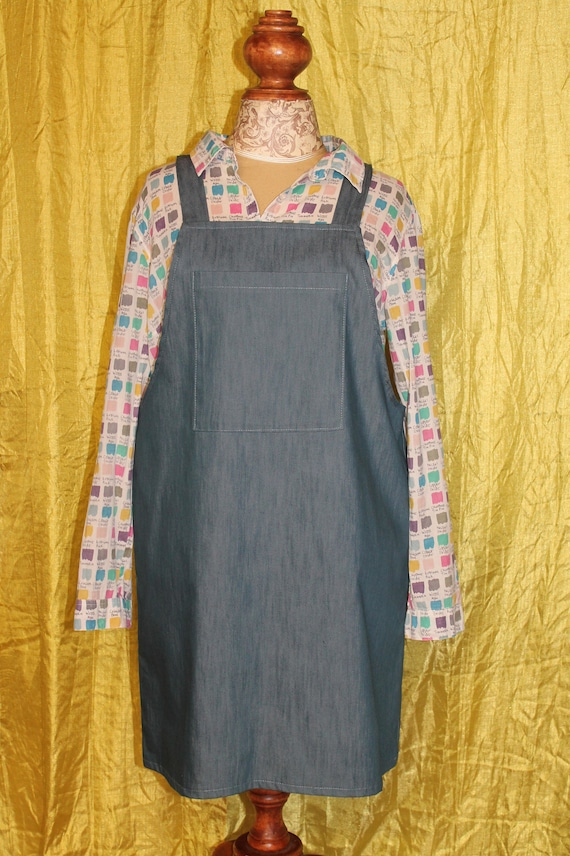 Large pinafore overall dress