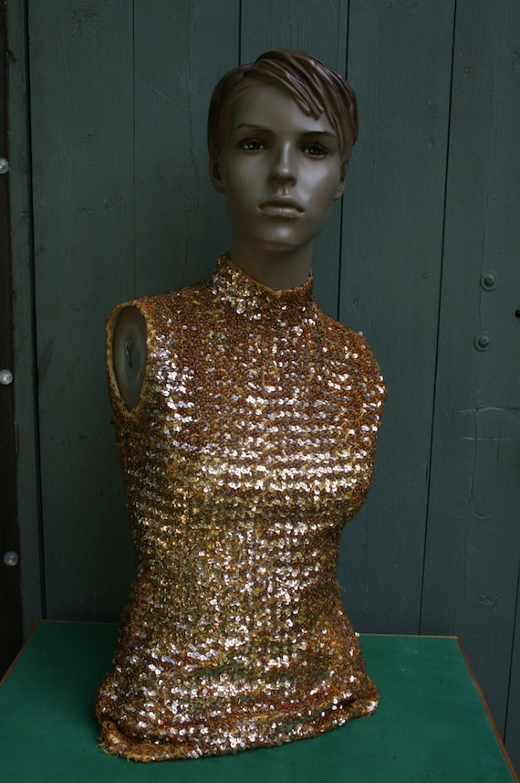 Vintage 1950s gold sequin circus/ showgirl costume