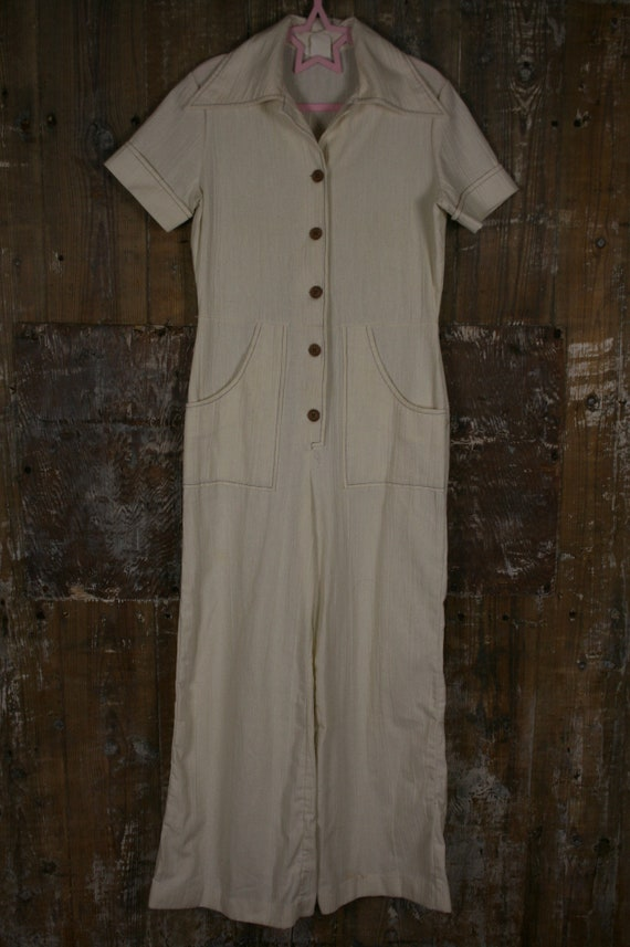 Vintage 70s Stockton jumpsuit, cream size 10 dagge