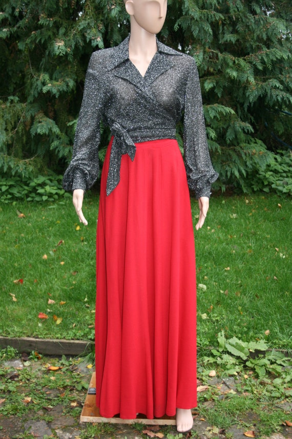 70s Quorum skirt, vintage red crepe designer maxi