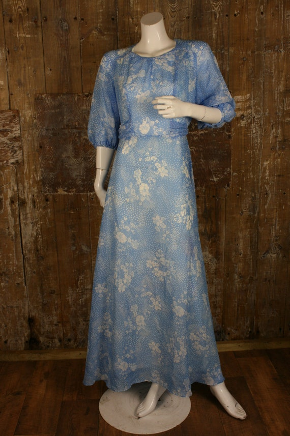 Vintage 1970s Style Pale Blue Floral Angel Butterfly Sleeve Chiffon Maxi Dress with Silver Beading Medieval Flower Fairy Folk Style