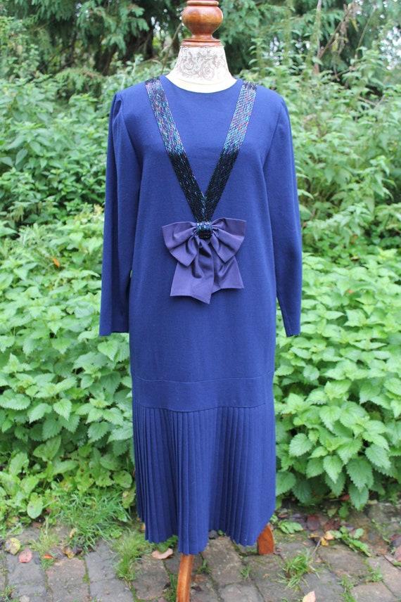 Vintage 80s does 30s blue wool crepe dress, size 1