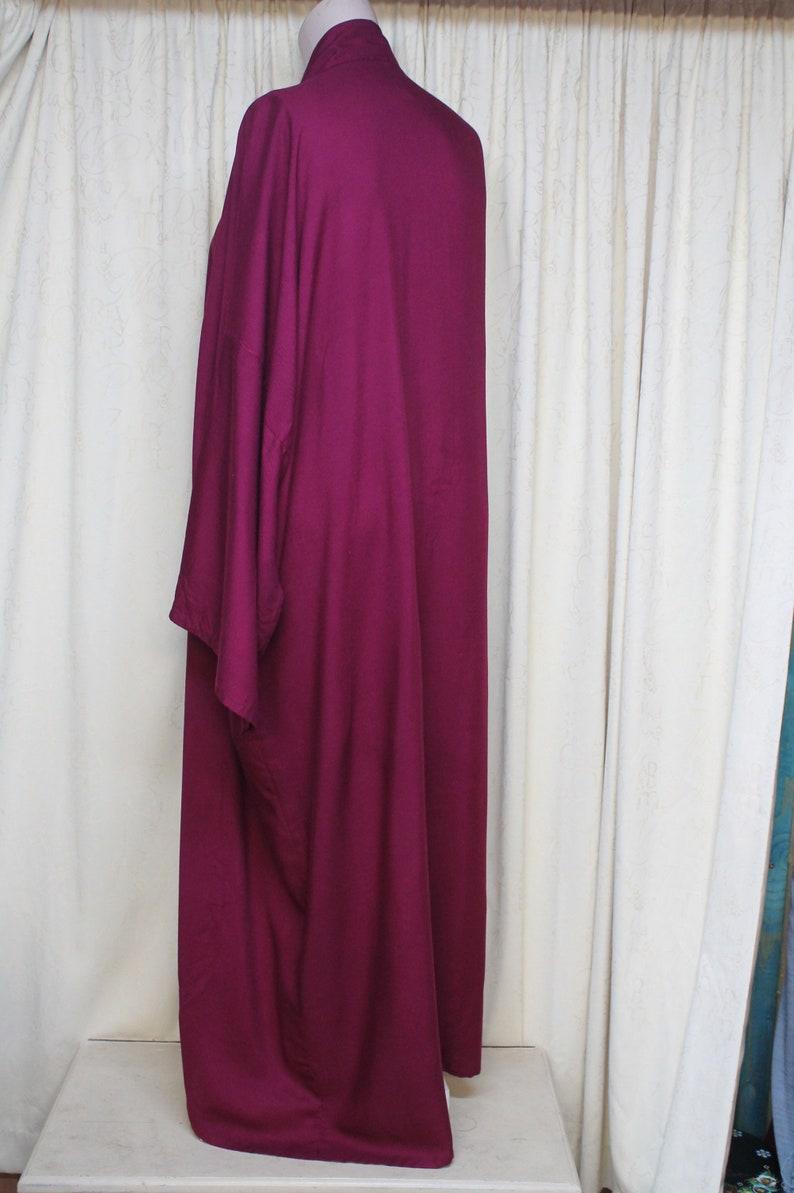 dark red maroon oversized maxi length bath robe kaftan Vintage XXXL unisex kimono