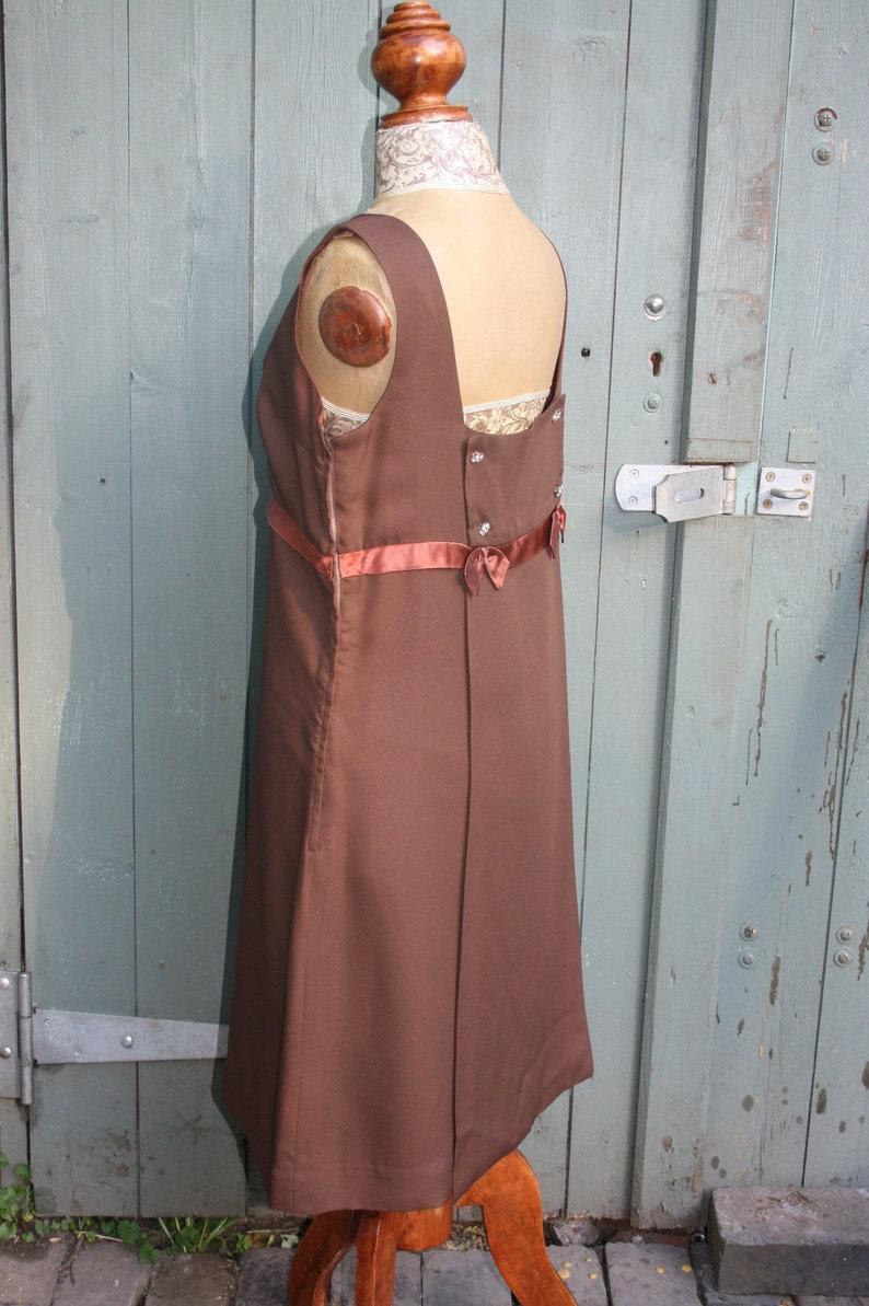 nice back detail Vintage 60s brown cocktail dress Melbray of London