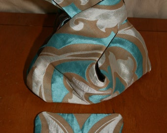 Japanese knot bag and matching purse, OOAK gift idea, reversible wrist bag and coin purse, handmade gift for a friend/ sister/ mum