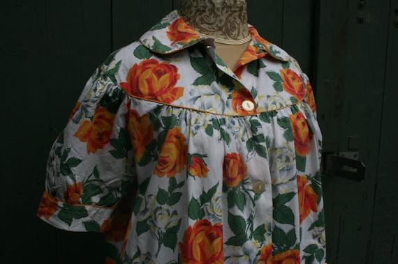 1950s orange rose print cotton house coat, vintage