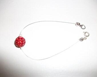Red rhinestone bracelet, handmade possible colours