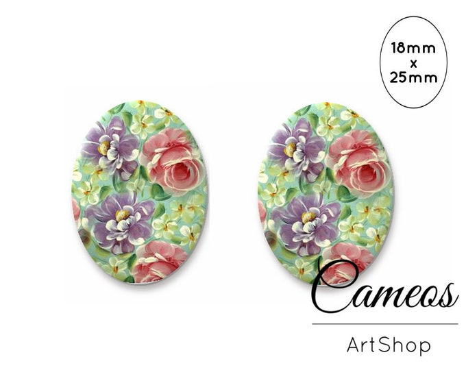 Floral Pattern Cabochon Glass Dome Handmade Photo Glass Cabochon 0796 Flowers Oval Cabochon 25x18mm