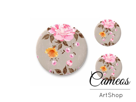 Pink Flower Design 18mm x 25mm Glass Cabochons