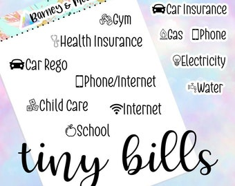 Tiny Bills   Bill Due   Budgeting and Finance   Direct Debit   Planner Stickers