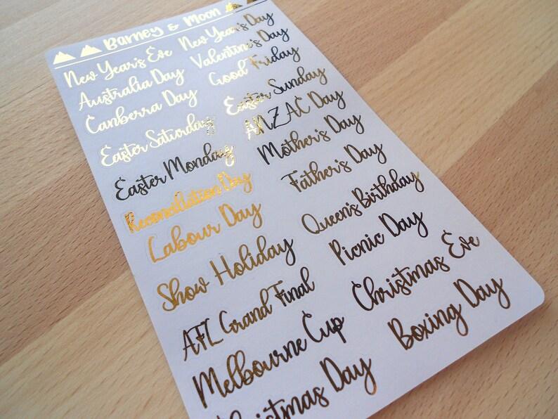FOIL Script Australian Public Holidays  Planner Stickers image 0