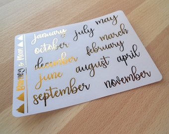 FOIL Date Covers | Months | Large | Planner Stickers