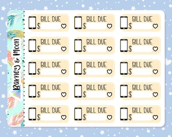 Phone Bill Due   Budgeting Planner Stickers   Pay Reminder   Budget and Finance