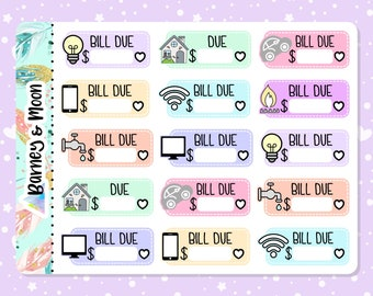 Household Bill Due | Utility Bill | Gas | Electricity | Water | Car | Wifi | Budgeting Planner Stickers | Pay Reminder | Budget and Finance