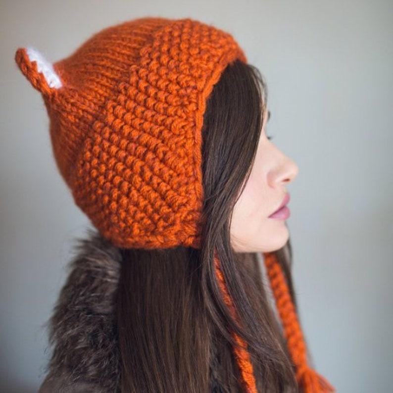 Pattern cat hat knitted fox hat cat ears beanie | Etsy