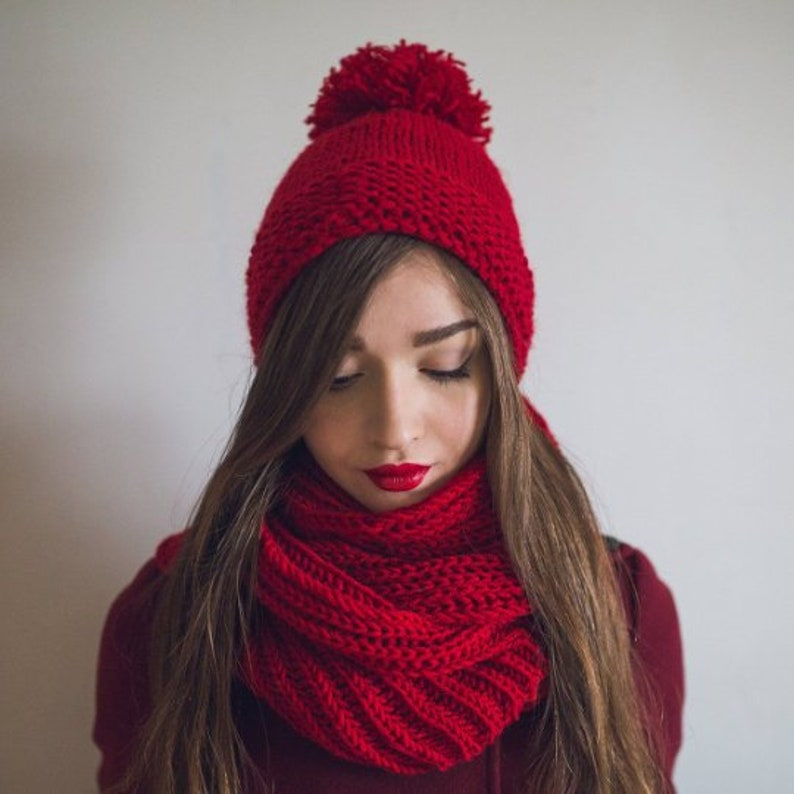 20eac661823 Knitted beanie with pompona Ear flaps hat hand knit Red winter cap hat Long  braids with pompons hat Adult Baby Womens ...