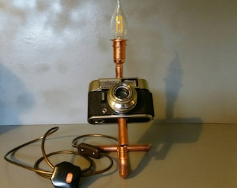 Steam punk upcycled camera table lamp 240v
