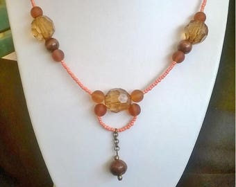necklace made of glass, acrylic and wood