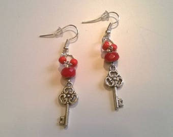 Glass beads, key charm earrings