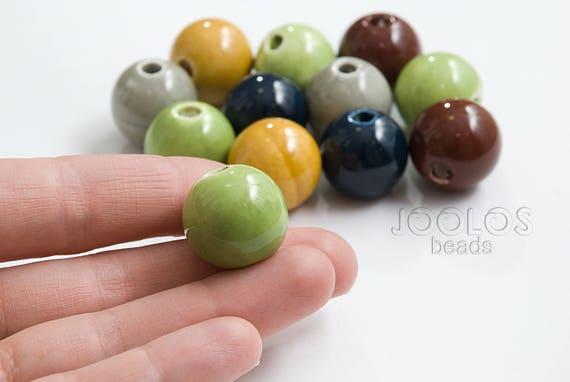 20mm Black Ceramic Porcelain Round Loose Beads 5PCS