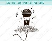 Microphone Svg, Musical notes svg, Floral microphones svg, Music Svg, Microphones Clipart, Files for Cricut, Singer Art svg, png, eps, dxf