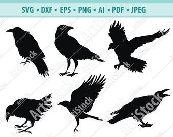 PNG SVG Vector Raven Moon Logo Clipart JPG Silhouette