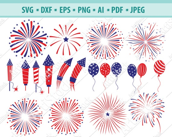 Fireworks Svg Fourth Of July Silhouette Cut File Patriotic Svg Etsy