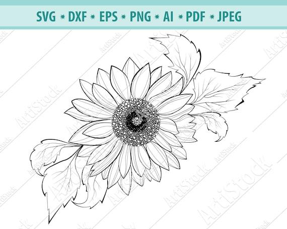 SunFlower Svg Sunflower Silhouette Sunflower Clipart ...