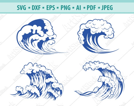 Wave SVG Waves svgSea Waves svg Ocean Waves svg Clipart Cut Files For Silhouette Files for Cricut Wave Vectorclipart for Designlogo
