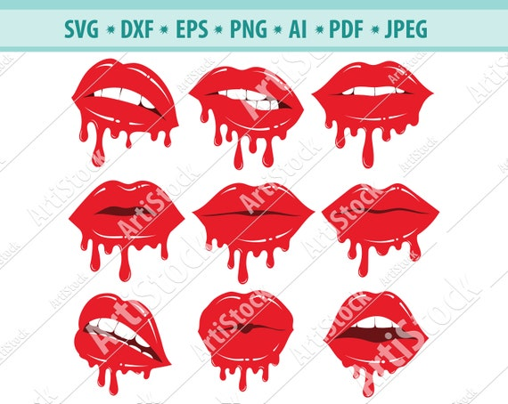 Slutty Lips sublimation file Blushing lips dripping lips vector file Bitting Lips lips print design-shirt print lipstick vector file