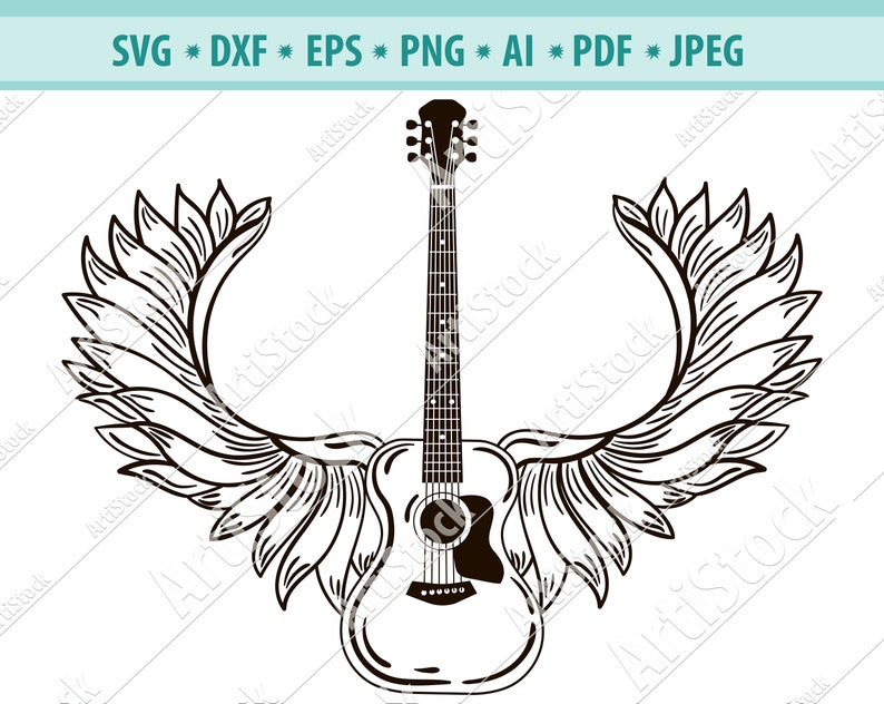 Acoustic guitar, Wings, Guitar, Rock and roll, Silhouette svg, Musical  Instrument  SVG  EPS  PNG Vector Clipart, Circuit files, Cut Cutting