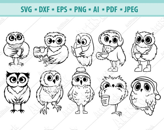 owl on cup svg