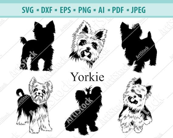 Yorkie Svg Yorkie Silhouettes Dog Svg Digital Cutting Etsy