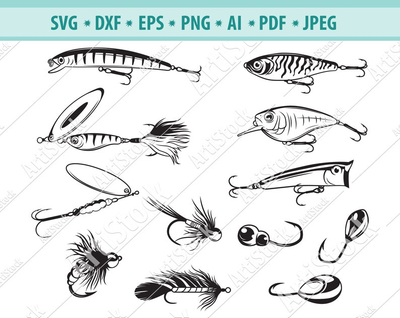 Download Fishing Clipart Fishing Svg Fishing Files For Cricut Fishing Lures Svg Fishing Cut Files For Silhouette Dxf Png Eps Fishing Bait Svg Clip Art Art Collectibles Vadel Com