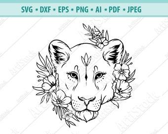 Lioness head SVG, Lion Flower Svg, Wild cat Svg, Lion silhouette, Lioness face Svg, Floral Lioness Svg, Svg cut file, Lion clipart, Eps, Png