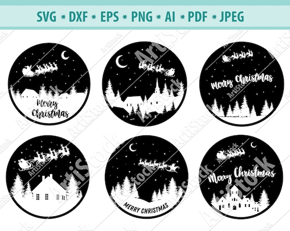 Silohouette Eps |Svg |Png |Dxf MERRY CHRISTMAS MOON Pdf Christmas Cricut Merry Christmas Reindeer Moon Svg