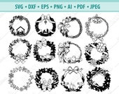 Christmas Wreath svg, Christmas svg, Winter Wreath Svg, Holiday svg, Bow wreath svg, Christmas Monogram Frame svg, Wreath cut file, Png, Dxf