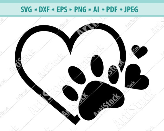 Dog Paw Heart Svg Paw Print Svg Dog Svg Digital Cut File Etsy Also heart paw print png available at png transparent variant. etsy