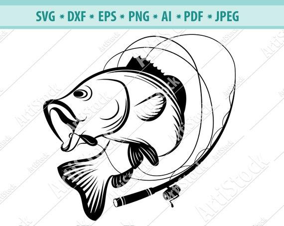 Download Bass Fishing Svg Bass Fishing Pole Svg Silhouette Fishing Svg Etsy