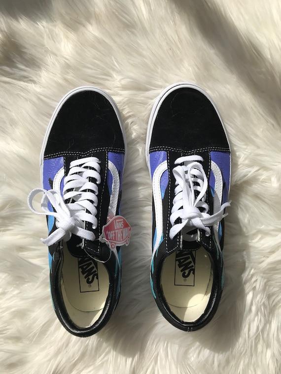 Vans Old Skool fiamma custom dipinto a mano vans vans personalizzati personalizzati fiamma scarpe scarpe personalizzate