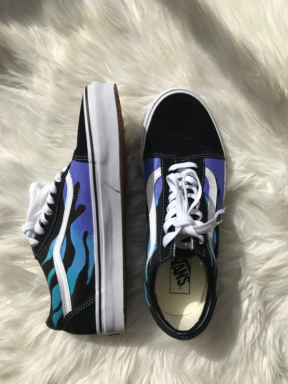 Vans Old Skool FLAME custom handpainted vans custom vans customized shoes flame shoes custom shoes