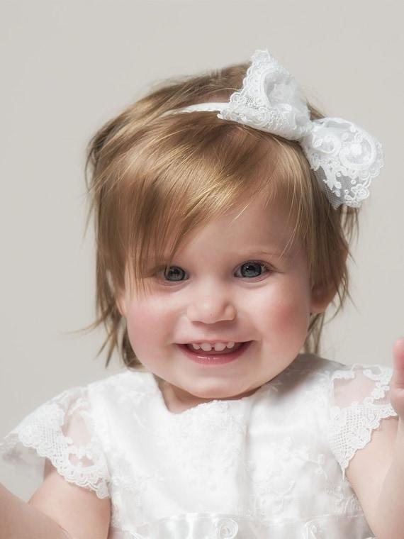 Baby Girl Lace Headbands Silk Bow Headband Christening /& Baptism Headbands Girls Newborn Headband /'Emma/' Newborn Girl Headbands
