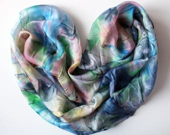 "Silk scarf-snud Natural silk Ekselsior scarf Handpainted scraf Batik ""Inspiration"" Neck scraf Colourful scraf Gift for women Gift for mother"