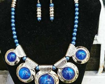 Necklace long blue glass beads