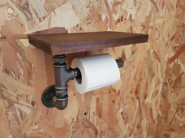 Dérouleur Papier Wc Metal dérouleur de papier toilette wc en métal et en bois, dérouleur à papier wc  en tuyaux de plomberie, porte papier toilette en acier et fonte