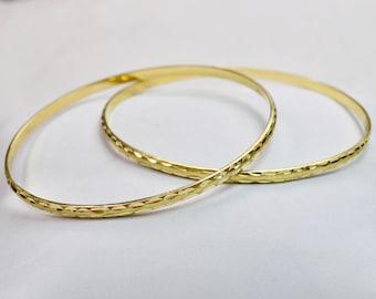 Set Of 2 Baby Bracelets, 14K Yellow Gold Bangle Bracelets, Moroccan Bracelets, Ethnic Bangle Bracelets with ornaments, Amazing Gift