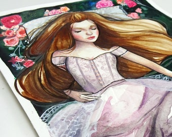 Little Briar Rose - Original Watercolor and Mixed Media Painting. Feminine portrait of sleeping beauty surrounded by pink roses.