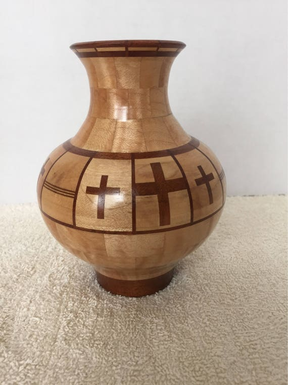Maple And Mesquite Segmented Turned Wood Vase With Crosses